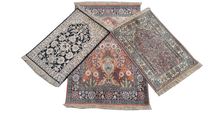 Three Beautiful Piece Hand Knotted Silk Cashmeri Indo Carpet Area Rug 92 cm x 63 cm 62 cm x 41 cm 63 cm x 64 cm