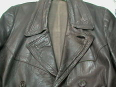Vintage, heavy leather, driver's / Thälmann jacket, 30s/40s, WWII