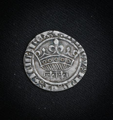 France - Groschen or sol coronat County of Provence Louis III or IV (1384-1417-1434) Silver