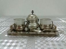 1000 silver plated set with gold 24 kt, pewter