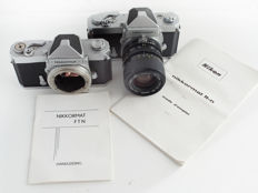 Nikkormat FTn and Nikkormat FS (rare) with 35-70 mm zoom lens, with manual