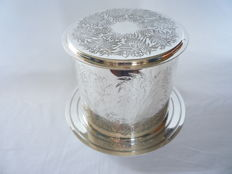 Silver plated cookie/candy jar decorated with botanical images, England, ca.1950