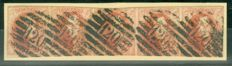 Belgium 1858 - Leopold I Medallions - OBP 12A - strip of five