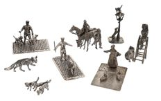Eight different silver miniatures with animals, Dutch work