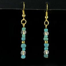 Earrings with Roman turquoise glass beads - 53,5 mm
