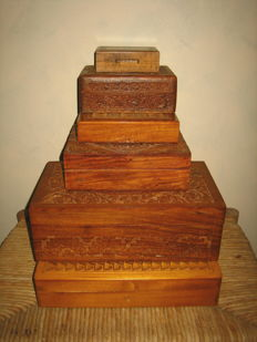 Six hand-carved antique chests of solid oak, mid 20th century, Holland