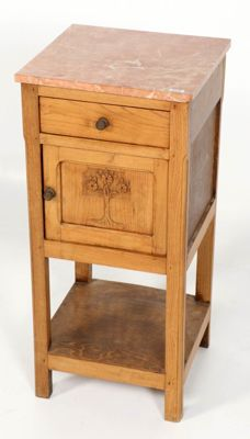 Pine wood Art Nouveau night stand with pink marble top, France, circa 1890