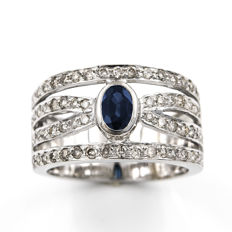 White gold, 18 kt - Cocktail ring - Brilliant cut diamond, 1.20 ct - Oval cut sapphire, 1.00 ct - Cocktail ring size 13 (Spain)