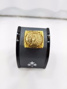 18ct Yellow Gold Gent's Ring with US Coin Look, Size V