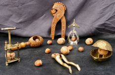 Lot of  6 hazelnut & nut crackers - silver plated metal - bronze - wood -  France - Ca 1910 - 1960