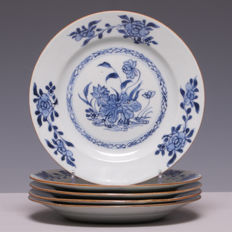 Set of 5 blue/white porcelain plates with lotus flower in garden - China - 18th century