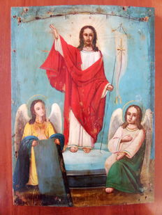 Orthodox Russian icon of resurrection of Christ - late 19th century