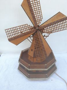 Wooden music box in the form of a mill