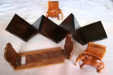Book objects; Lot with 3 sets of handmade wooden bookends - 1st half 20th century