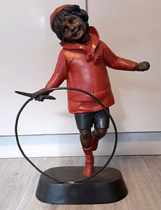 Sculpture after E.Picault  Boy with hoop, mid 20th century France