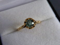 18 kt yellow gold ring with 0.70 ct aquamarine, diameter of 18.25 mm