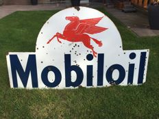 Old Mobiloil Enamel advertising sign, in rare format - 1930s