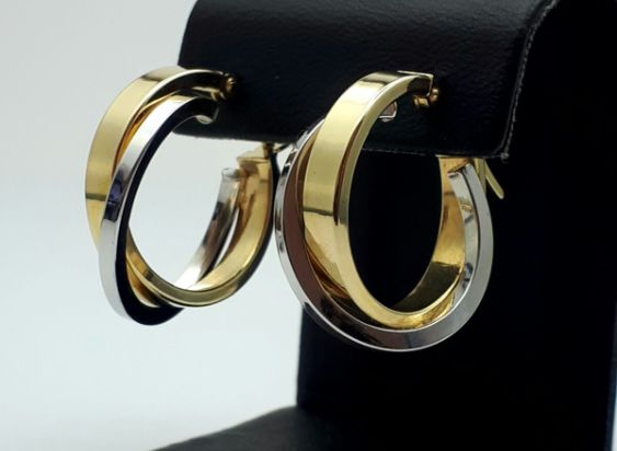 14 Ct Yellow & White Gold Crossover Hoop  Earrings, Total 2.34, Diameter 2.5cm