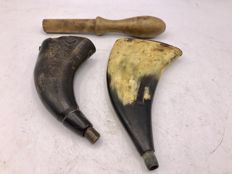 2 antique powder horns and an antique wooden powder pestle -19th century