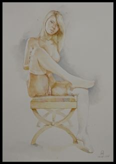 Original; Stannislav Strutsenko - Nude Blond on Chair - 2017