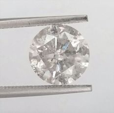 3.11 ct - E color - SI2 clarity- 3 x EX - None - Round Brilliant Cut Diamond -Comes With AIG Certificate + Laser Inscription On Girdle