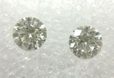 Couple of 2 Round cut diamonds total 1.28 ct F SI1   -No Reserve
