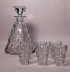 Set of crystal decanter with 6 glasses, mid 20th century