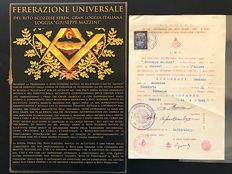 Masonic designation at the Giuseppe Mazzini lodge - important signature