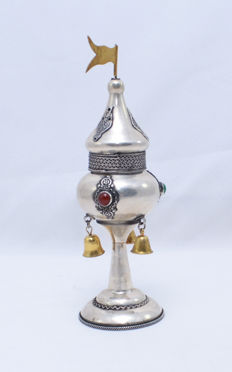 A sterling silver Besamim tower - mounted with gemstones - Jerusalem - circa 1950