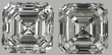 Pair of  Asscher (Square Emerald)  Brilliant  2.01ct  total   I VS1 - J VS2    IGI  Original image 10EX - Serial# 1725-18108