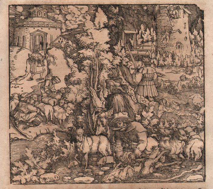 Hans Weiditz (1500-1536) - Medieval sheepherds shaving sheep - Ca 1520