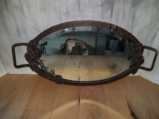 Rare wrought iron tray with mirrored top  - France - 1st half 20th century