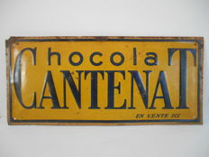 rare metal advertising board for 'Chocolat Cantenat' from 1900