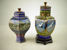 Two fine hexagonal cloisonné vases - China - circa 1970