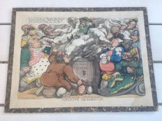 Thomas Rowlandson - 'Funcking the Corsican' - cartoon with European leaders and Napoleon Bonaparte - hand coloured etching/aquatint mounted on cardboard - 1813, England