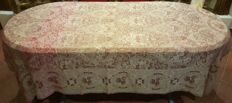 Antique rectangular tablecloth for 6 people in pink silk - 225 cm x 205 cm - without reservation