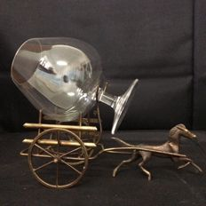 "Unknown Designer - Horse Pulling a Wagon"" cup Holder in Brass - cup included"