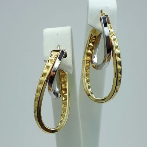 14 Ct Yellow & White Gold Crossover Earrings, 3.5 cm, Total Weight 3.04g