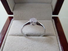 18 kt white gold - Engagement ring - Diamonds 0.11 ct