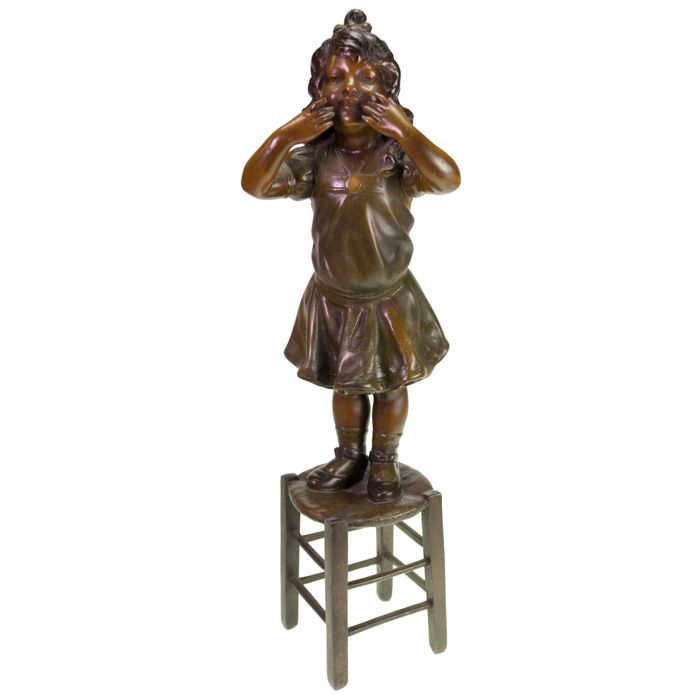 A patinated spelter sculpture of a young girl on a stool - France - ca. 1900