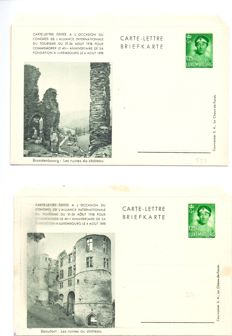 Luxembourg 1938 - Series of 6 illustrated letter cards - green 1.25 Fr