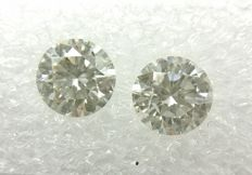 Couple of 2 Round cut diamonds total 1.33 ct G VS1    -No Reserve