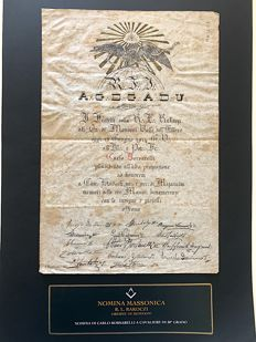 Masonic designation from the Supreme Universal Council R.L. Rakoczi at the 30th position to the knight Borsarelli - important signatures