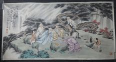 Extra large painting of 6 wise men with calligraphy poem  - China - late 20th century