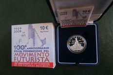 Italy - 10 euro 2009 '100th anniversary of the Futurist Movement' + silver