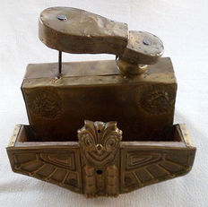 Shoe-shiner box in wood, covered in brass, France, mid 20th century