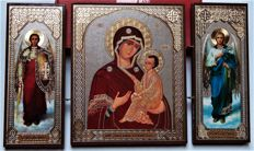 Icon - triptych in the middle of the icon of the Mother of God Tikhvin. To the left - Saint Archangel Michael,  right - Saint Archangel Gabriel.