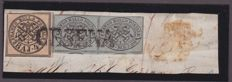 Pontifical, 1852, Kingdom of Italy, 1863/1935 – Lot composed of 3 postal documents and 1 fragment
