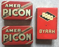 3 boxes of decks of cards  - Amer Picon, Byrrh, Pikina - 50s