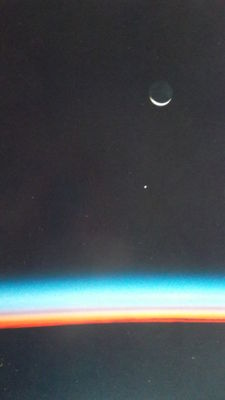 Exceptional: Moon and Jupiter from the shuttle